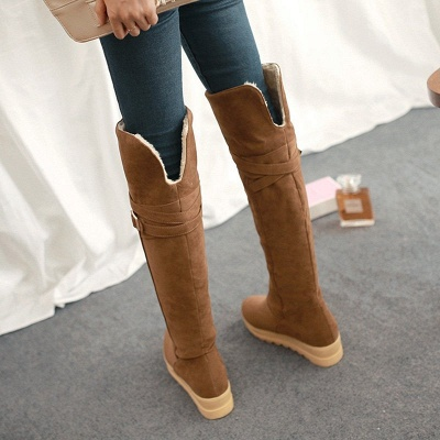 Suede Daily Wedge Heel Buckle Casual Boot_8