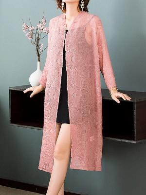 Pink Crew Neck Solid Shift Crinkled Coat_5