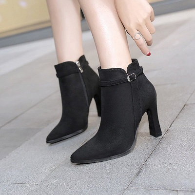 Suede Buckle Chunky Heel Pointed Toe Boot_5