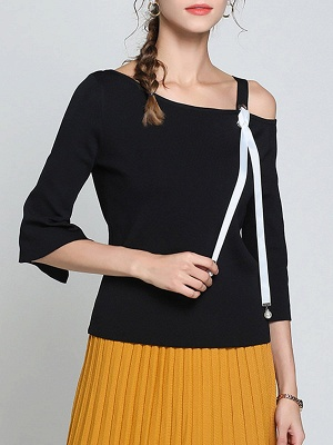Black Casual One Shoulder Solid Sweater_6