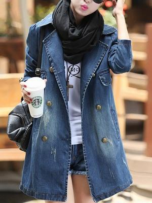 Blue Shift Long Sleeve Pockets Buttoned Shirt Collar Coat_6