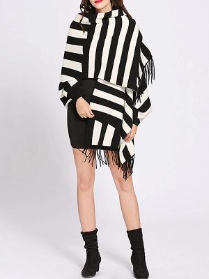 Striped Fringed Shift Long Sleeve Elegant Sweater_13