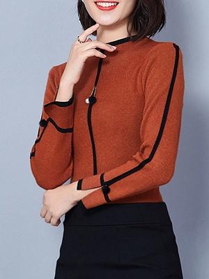Crew Neck Long Sleeve Casual Paneled Sweater_3