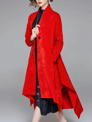 Red Buttoned Asymmetrical Long Sleeve Coat_9