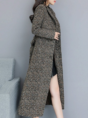 Gray Stand Collar Shift Long Sleeve Pockets Buttoned Coat_4