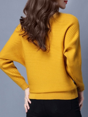 Casual Solid Batwing Sweater_4