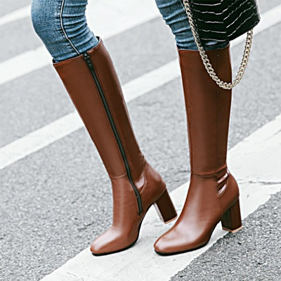 Zipper Chunky Heel Daily Round Toe Elegant Boots_4