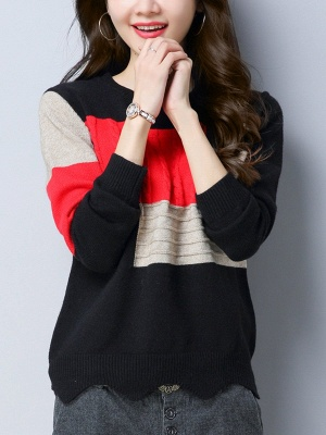 Long Sleeve Cable Casual Knitted Sweater_5