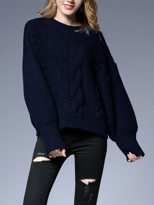 Long Sleeve Crew Neck Knitted Casual Sweater_1