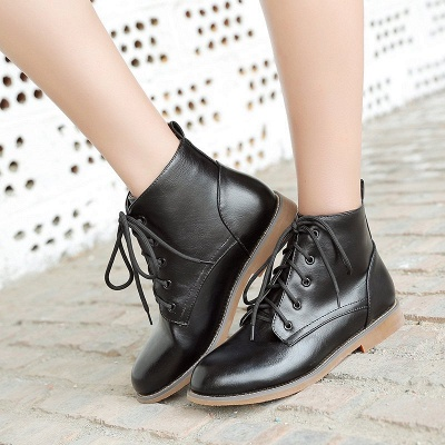 Low Heel Lace-Up Pointed Toe Boots_5