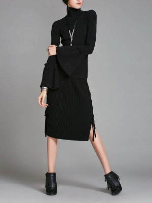 Turtle Neck Casual Bell Sleeve Pleated Sweater_11