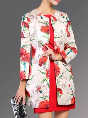 Buttoned Long Sleeve Floral Work Elegant Coat_5