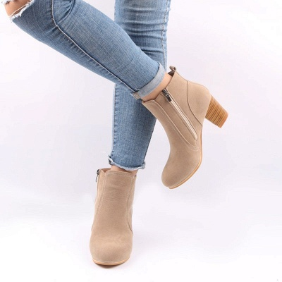 Suede Chunky Heel Zipper Daily Round Toe Boot_8