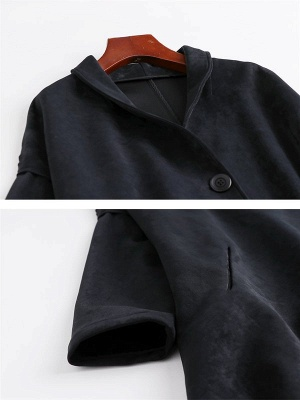 Red Buttoned Asymmetrical Long Sleeve Coat_7