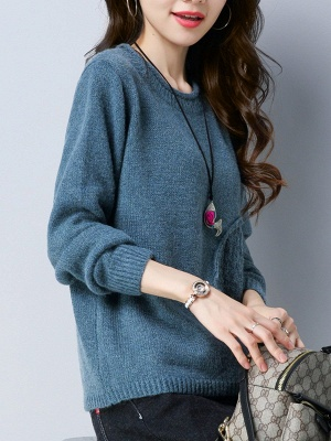 Long Sleeve Knitted Plain Casual Crew Neck Sweater_6