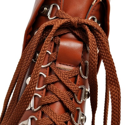Chunky Heel Lace-up PU Daily Round Toe Boot_12
