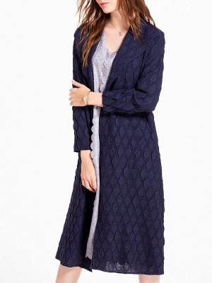 Long Sleeve Slit Casual Solid Shawl Collar Embossed Shift Coat_6