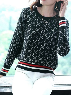 Casual Long Sleeve Geometric Printed Shift Sweater_5