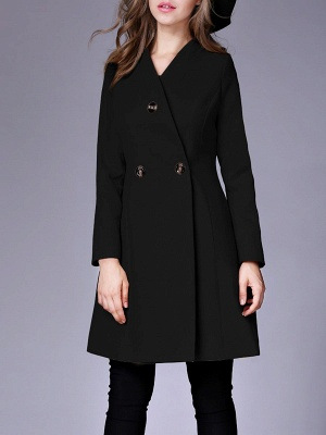 Casual Buttoned Solid Long Sleeve Coat_4
