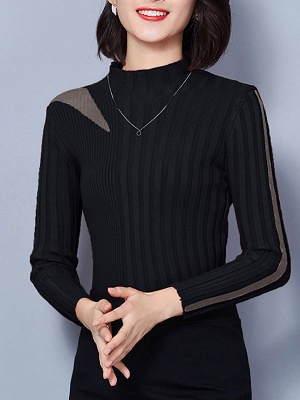 Solid Stand Collar Long Sleeve Casual Sheath Sweater_4