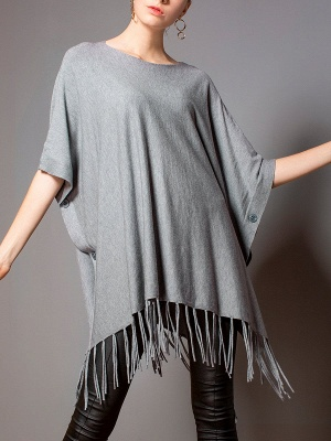 Casual Shift Crew Neck Batwing Sweater_2