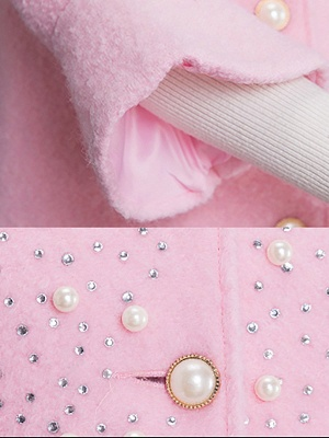 Bell Sleeve Work Shift Buttoned Beaded Coat_9