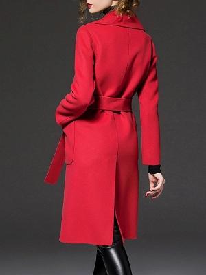 Long Sleeve Casual Lapel Buttoned Coat_4