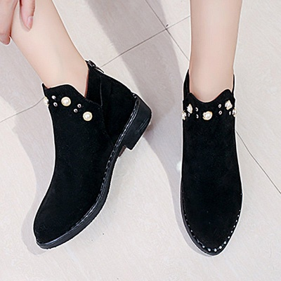 Suede Chunky Heel Daily Beading Round Toe Boot_1