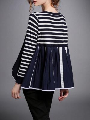 Royal blue Striped Long Sleeve Shift Sweater_3