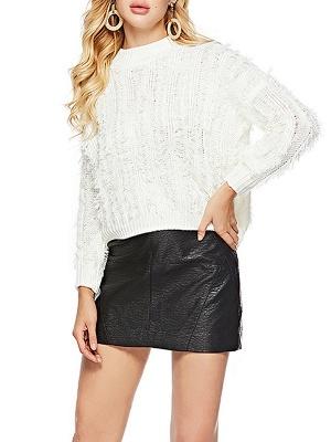 Long Sleeve Casual Geometric Sweater_1