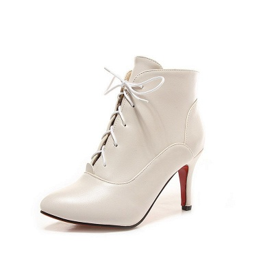 Lace-up Stiletto Heel Pointed Toe Elegant Boots_2