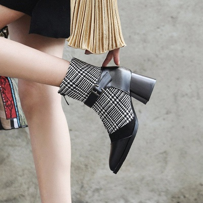 Daily Zipper Pointed Toe Buckle Chunky Heel Boots_6