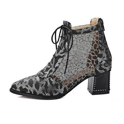 Zipper Chunky Heel Mesh Fabric Pointed Toe Boots_9