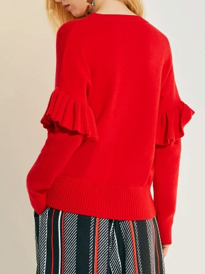 Red Casual Paneled Solid Crew Neck Sweater_3