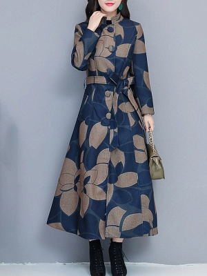 Printed Stand Collar Buttoned Pockets A-line Coat_2