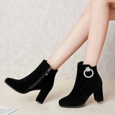 Suede Chunky Heel Working Square Toe Boots_2