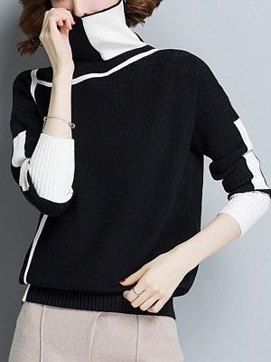 Plain Casual Turtleneck Long Sleeve Shift Sweater_2