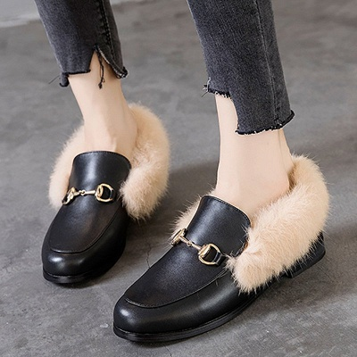 Chunky Heel Round Toe Casual Loafers_1