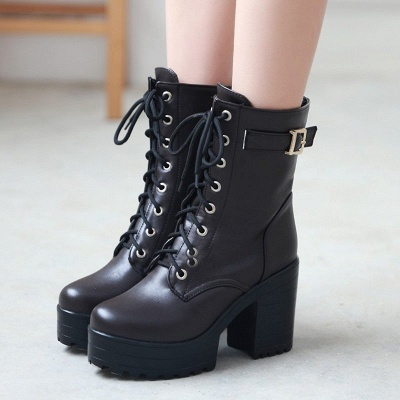 Lace-up PU Chunky Heel Round Toe Boots_1