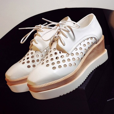 Hollow-out Lace-up Wedge Creepers_13
