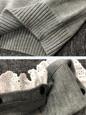 Gray Long Sleeve Wool Casual Sweater_5