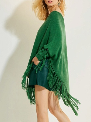 Green V neck Batwing Casual Sweater_6