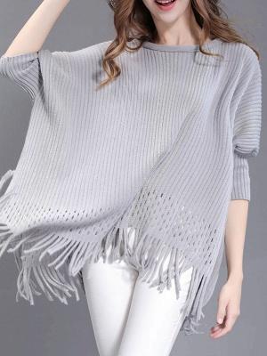 Shift Wool Batwing Casual Geometric Sweater_4