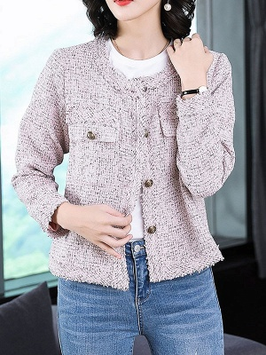 Pink Casual Buttoned Long Sleeve Coat_1