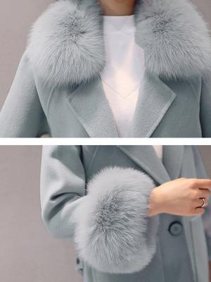 Long Sleeve Shawl Collar Paneled Pockets Slit Fluffy Coat_7