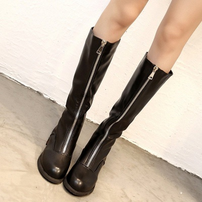 Fashion Zipper Chunky Heel Boot_5