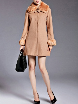 Coffee Bow Lapel Fluffy Buttoned  Paneled Coat_5