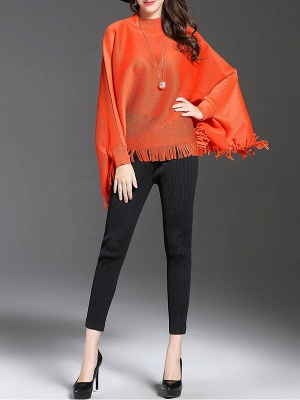 Fringed Batwing Casual Stand Collar Coat_2