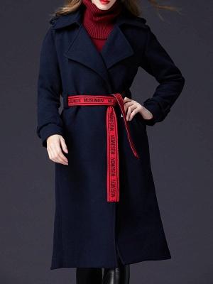 Dark blue Shift Long Sleeve Casual Pockets Paneled Coat_1