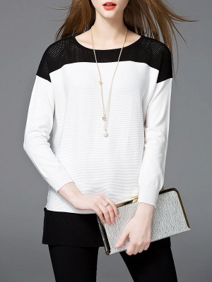White Cotton Solid Long Sleeve Sweater_4